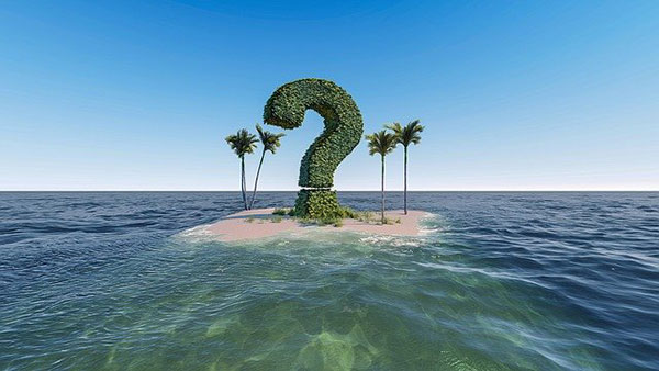 desert island with question mark